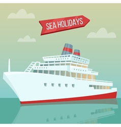 Travel banner sea holidays passenger ship cruise vector