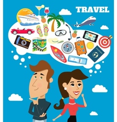 Travel dreams scene vector image