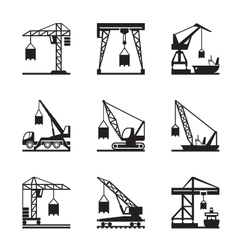 Various types of cranes vector