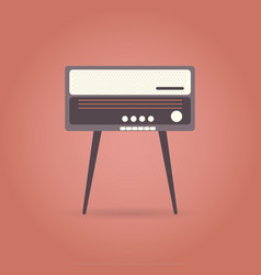 vintage radio flat icon on red background vector image
