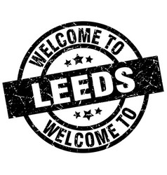welcome to leeds black stamp vector image