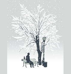 winter landscape with man and cat in the park vector image