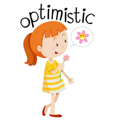 young optimistic girl white background vector image