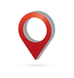 3d metal red map pointer icon marker gps location vector image
