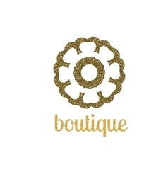 Abstract gold flower logo design unusual vector image