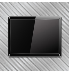black plate on metal background vector image vector image