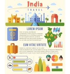 India traveling infographics template with vector image vector image