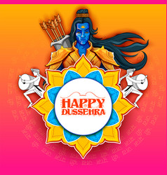 lord rama with arrow in dussehra navratri festival vector image