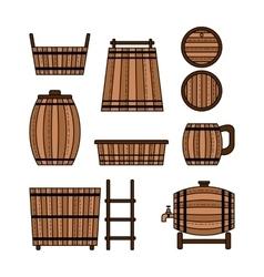 Set barrel mug wooden tub and other barrel vector image