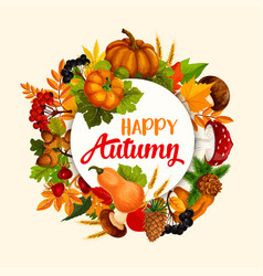 autumn season poster design with leaf and pumpkin vector image vector image