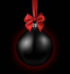 black card with christmas ball vector image vector image