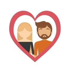 couple love frame heart relationship vector image
