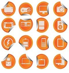 Electronic Technology Device Icon Sticker Style vector image