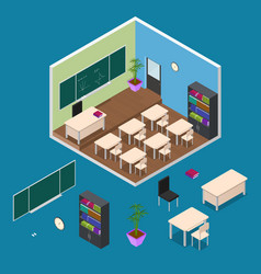 interior classroom with furniture element vector image