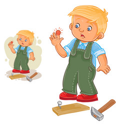little boy hammering a nail and bruised vector image vector image