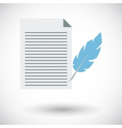 Paper and bird feather pen vector image