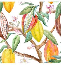watercolor cacao pattern vector image vector image