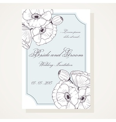 Wedding shover with outline poppies vector image vector image
