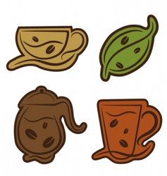 coffee and tea symbols vector image vector image