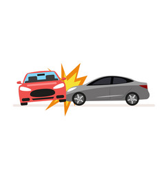 Collision of cars car crash involving two cars a vector
