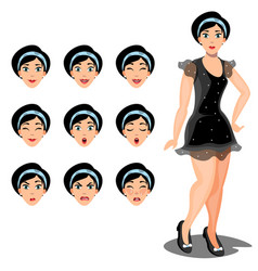 girl emotions set of different facial expressions vector image vector image