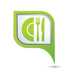 restaurant icon on green pointer vector image