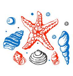 sea marine shells hand drawn sketch vector image