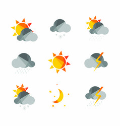 weather icons set in polygonal geometric style vector image vector image