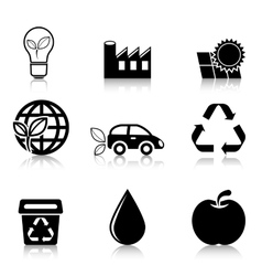 Ecology Icons Set with reflection vector image vector image