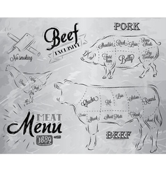 Meat Menu coal vector image vector image