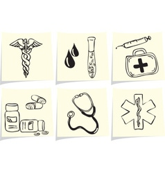 Medical and pharmacy icons on yellow memo sticks vector image
