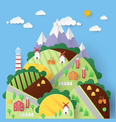 Rural landscape with countryside houses vector
