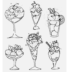 Set Ice cream - sketched isolated icecream on vector image vector image