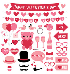 valentines day design elements and decoration set vector image vector image