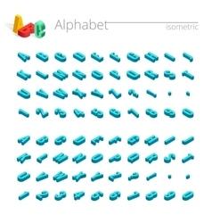 3d isometric alphabet font isometric vector