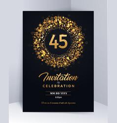45 years anniversary invitation card template vector