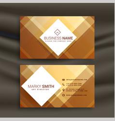 Abstract golden geometric business card design vector