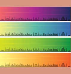 agra multiple color gradient skyline banner vector image
