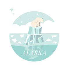 Alaska ice landscape with polar bear vector