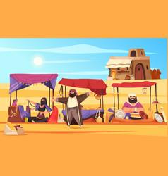 Arabic marketplace cartoon background vector