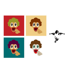 Assembly of flat icons on theme humor loudly vector