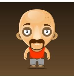 Bald Man Cartoon Character with Mustache vector image