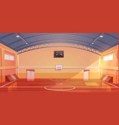 Basketball court empty interior indoor stadium vector