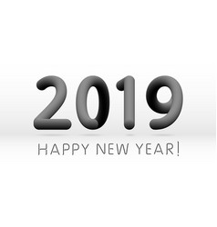 black 2019 symbol happy new year isolated on vector image