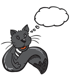 Black cat with speech bubble vector