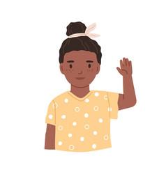 black-skinned girl greeting smb hi gesture vector image