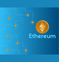 Blockchain ethereum cryptocurrency on blue vector