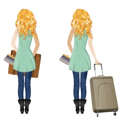 Blonde Woman with Suitcase vector