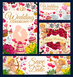 Bridal ceremony save date wedding day symbol vector