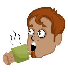 brown human emoji with a green cup on white vector image